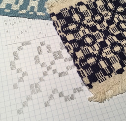 "Name draft of ""warp and weft"" and woven overshot sample"